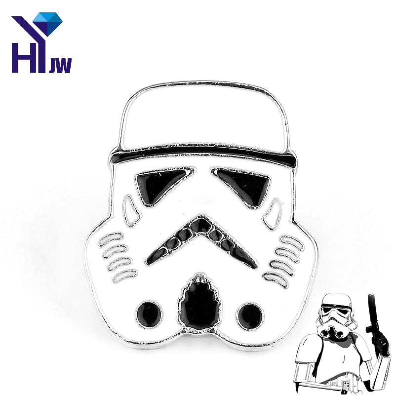 HEYu New Fashion Brooches Movie Star War Movie Stormtrooper Mask Warrior Storm Trooper Helmet Game Badge Lapel Pin Jewelry