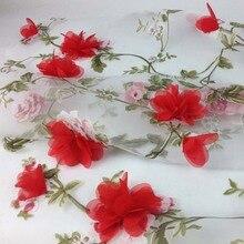 Rojo Organza Africana tela de encaje para el vestido Diy ropa coser Flor de Gasa cortina tejidos Material Diy Patchwork tela