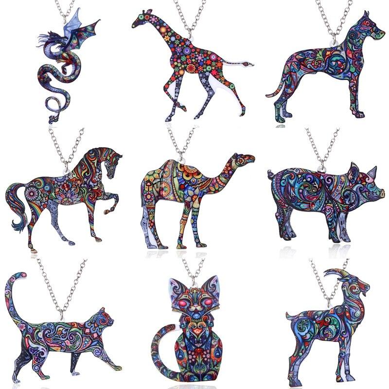 El yapımı takı renkli çift taraflı akrilik baskı çiçek kedi köpek ejderha kolye kolye kadınlar için kostüm kazak zinciri