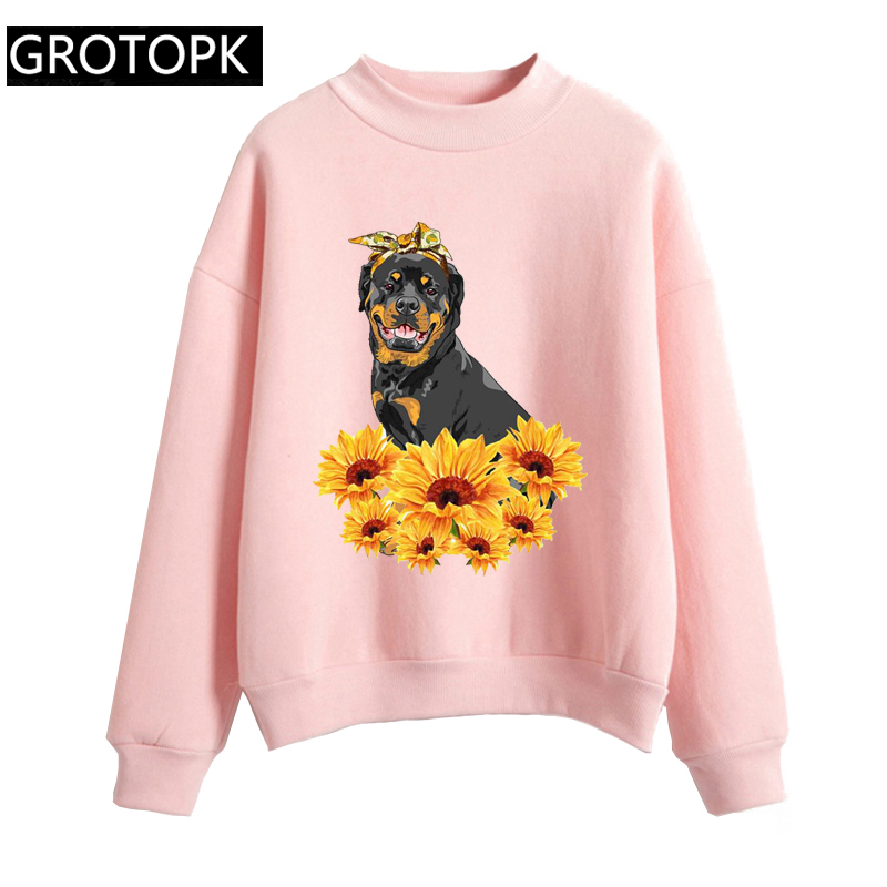 New 2019 Rottweiler Aesthetic Gothic Hoodies Women Sunflower Harajuku Kawaii White Sweatshirt Pullover Korean Fashion Clothes