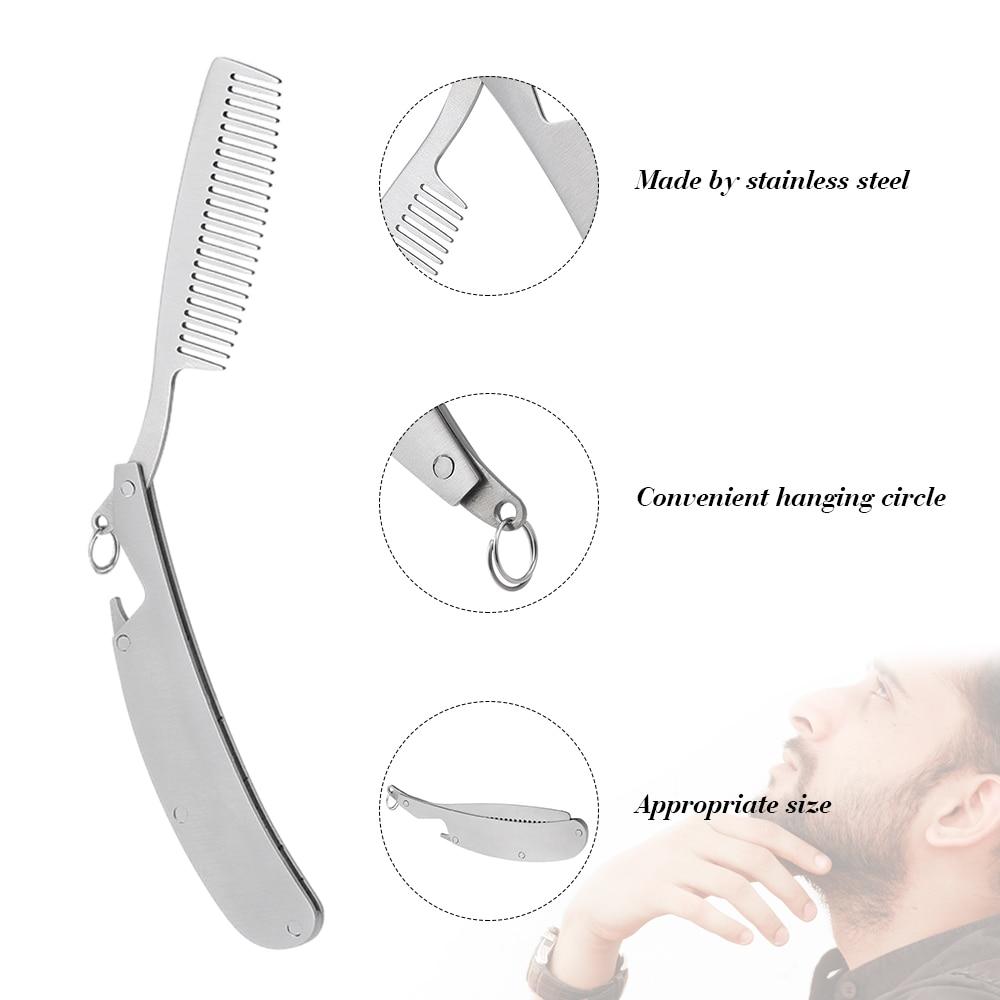 Foldable Hair Comb Pocket Clip Hair Moustache Beard Comb Folding Male Mustache Shaving Brush Stainless Steel Facial Hair Brush 5