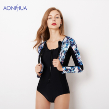 AONIHUA Two Piece Swimsuit Female Tight Sport Bodysuit Zipper Design Floral Long Sleeve Swimming Suit For Women Bathing