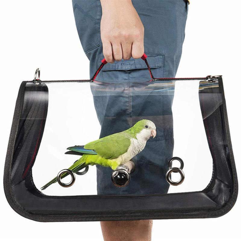 في الهواء الطلق السفر النقل قفص ببغاء ناقلات الطيور اكسسوارات بولي كلوريد الفينيل شفافة تنفس الببغاء حقيبة يد
