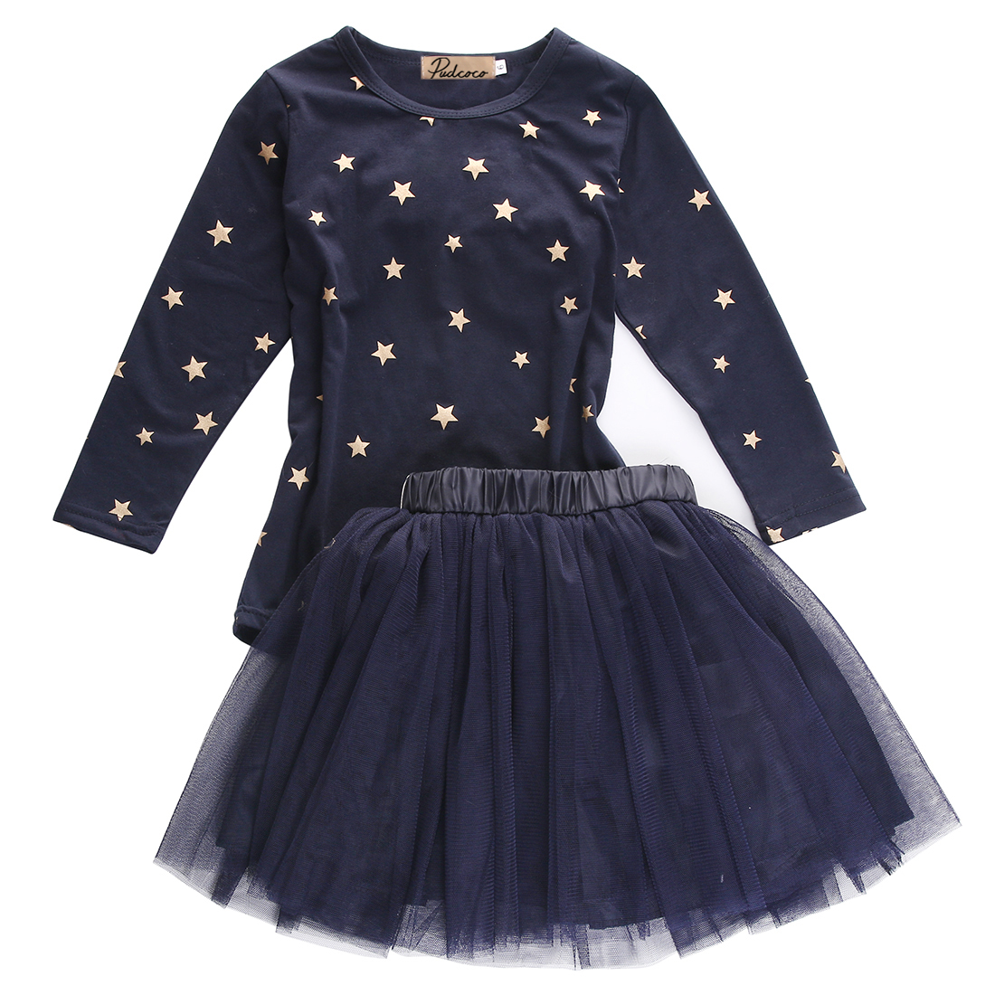 Children Baby Girl Clothes Set Party Tops Long Sleeve T-shirt Star Tulle Skirts Outfits Set Tutu Skirt Children Clothing Casual two pieces kid girl clothing set flower t shirt tutu skirt children summer set for 2 12 girls outfits party prom