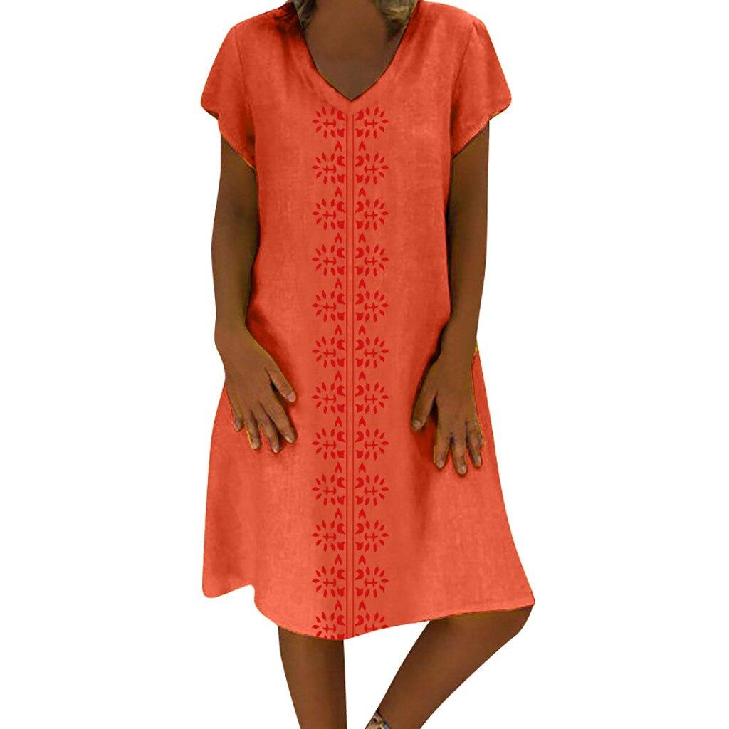 Women Summer Bohemian Style Printed Cotton Linen dress Plus Size 5xl V-Neck Casual Ladies beach Dress jurk ropa mujer#30