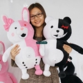 Dorimytrader 28'' / 70cm 2 pcs Giant Stuffed Cute Plush Large Cartoon Monokuma and Monomi Toy, Nice Gift, Free Shipping DY60470