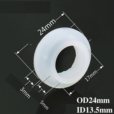 Silicone Washer Shoulder Bulge  Sealing Flange Gaskets Spacer for Downspout Downpipe Faucet  OD24mm ID 13.5mm 24x13.5mm