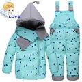 S-135 Snowsuit Criança Crianças Das Meninas Dos Meninos de Inverno Com Capuz Para Baixo Casaco de Esqui Terno Conjunto Outerwear Roupas Jaqueta para Crianças Roupas