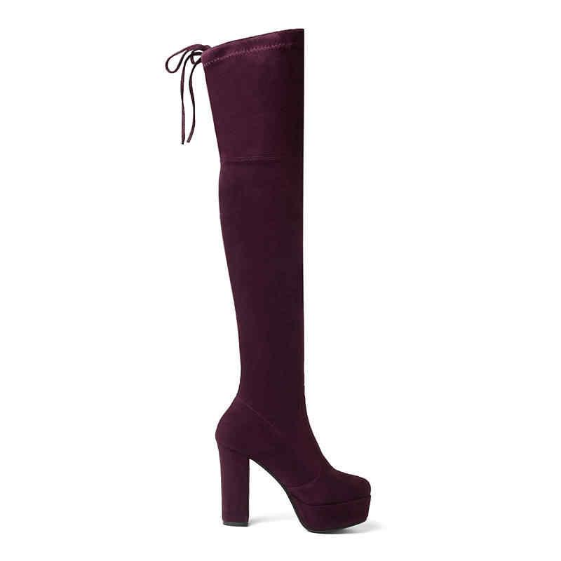 MEMUNIA 2020 ใหม่ล่าสุด flock เข่ารองเท้าผู้หญิงลื่นบนยาวบู๊ทเซ็กซี่ฤดูใบไม้ร่วงแพลตฟอร์มรองเท้าสีดำ