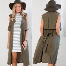 2016 Autumn Women Trench coats Fashion Sleeveless Long Design Loose Vest Coat With Sashes Outwear L082