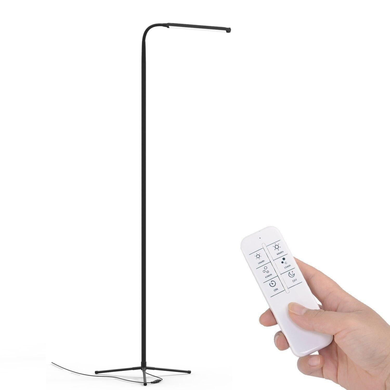 F9 Moderne Tactile LED Permanent Étage Lampe Lecture pour Salon Chambre avec Télécommande 12 Niveaux Dimmable 3000- 6000 k Noir