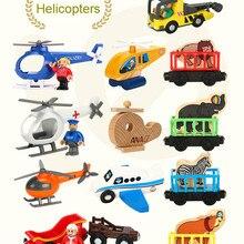 EDWONE деревянный магнитный Поезд Самолет деревянная железная дорога вертолет Рождественские автомобильные аксессуары игрушка для детей подходит Дерево Biro треки подарки