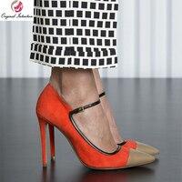 Original Intention Elegant Women Heels Pumps Stilettlo High Heels Pointed Toe Pumps Ladies Work Mix Colors Buckle Shoes Size 15