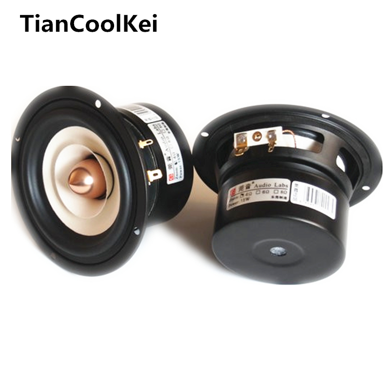 Audio Labs High Performance 4inch full range speaker 1Pair Mixed Paper Cone Aluminum Bullet 4/8ohm 25W 4