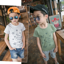 2017 New Summer Short Sleeve Star Tees Teenage Boys Clothing Kikikids White Tshirt Cotton T Shirt  For Children T four 6 eight 10 12 14