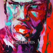 Hand Painted High Quality Face Francoise Nielly Designer Abstract Knife Palette Art Oil Paintings Canvens Decorative Cool Face