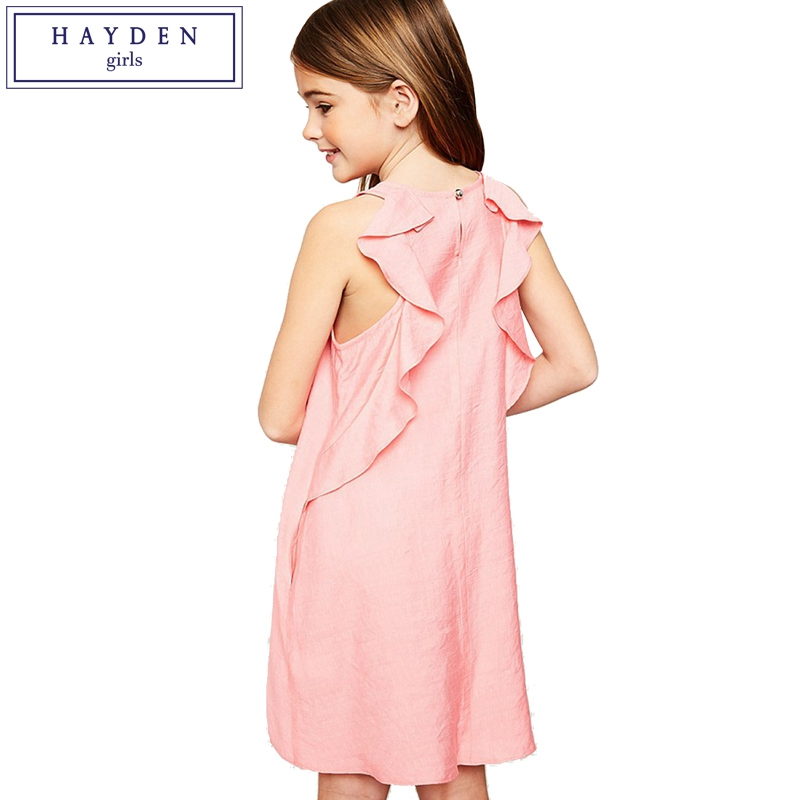 HAYDEN Girls Ruffled Back Shift Dress with Side Pockets Summer 2018 New Arrival Brand Loose Sleeveless Dresses for Teen Girls orange roll neck casual dress with two side pockets