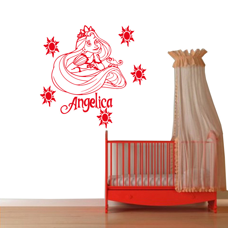Us 4 13 54 Off Customized Personalized Name Princess Rapunzel Entangled Wall Painting Vinyl Children S Room You Choose The Name And Color In Wall