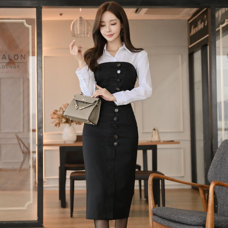 Elegant 2 Pieces Set Turn-down Collar Full Sleeve White Blouses & Single Breasted Strapless Fashion OL Style Women Sets 2019