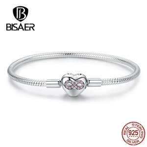 Image 3 - BISAER 925 Sterling Silver Heart Shape Clasp Infinity Love Infinite Femme Silver Bracelets for Women Jewelry Pulseira ECB142