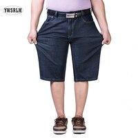 YWARLM Brand Mens Blue Denim Shorts Men Jeans Summer Mens Fat Big Code Shorts Size 30