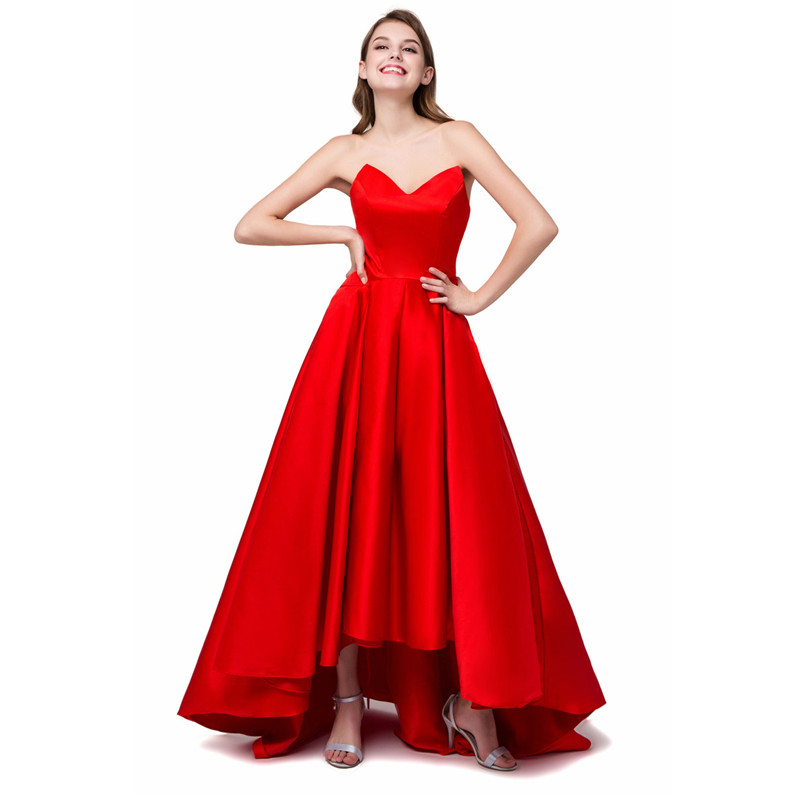 In stock red bridesmaid dresses robe de soiree 2017 draped for Hi lo dress wedding guest