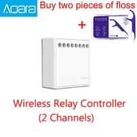 Original Xiaomi Mijia Aqara Two way control module Wireless Relay Controller 2 channels Work For Mijia APP and Home kit