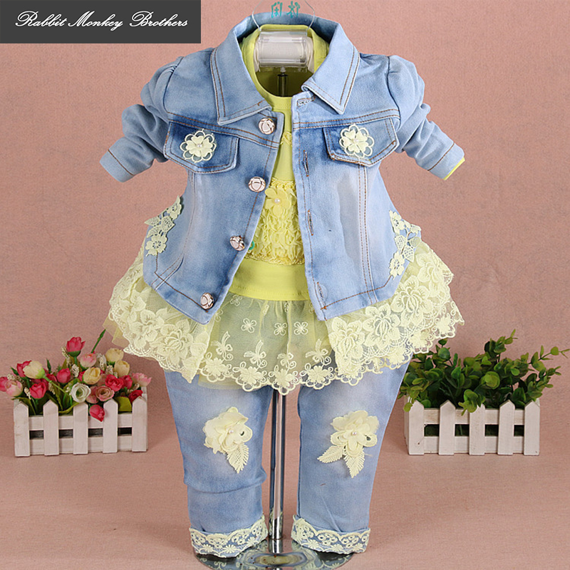 Baby girl clothes new spring autumn newborn Girl denim three-piece set Flower Lace Girl Baby Set suits for infant girl mother nest 3sets lot wholesale autumn toddle girl long sleeve baby clothing one piece boys baby pajamas infant clothes rompers