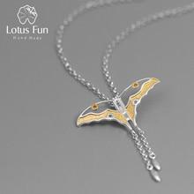Lotus Fun pendentif en argent Sterling 925, véritable, créatif, fait à la main, cerf volant papillon ajouré, sans collier