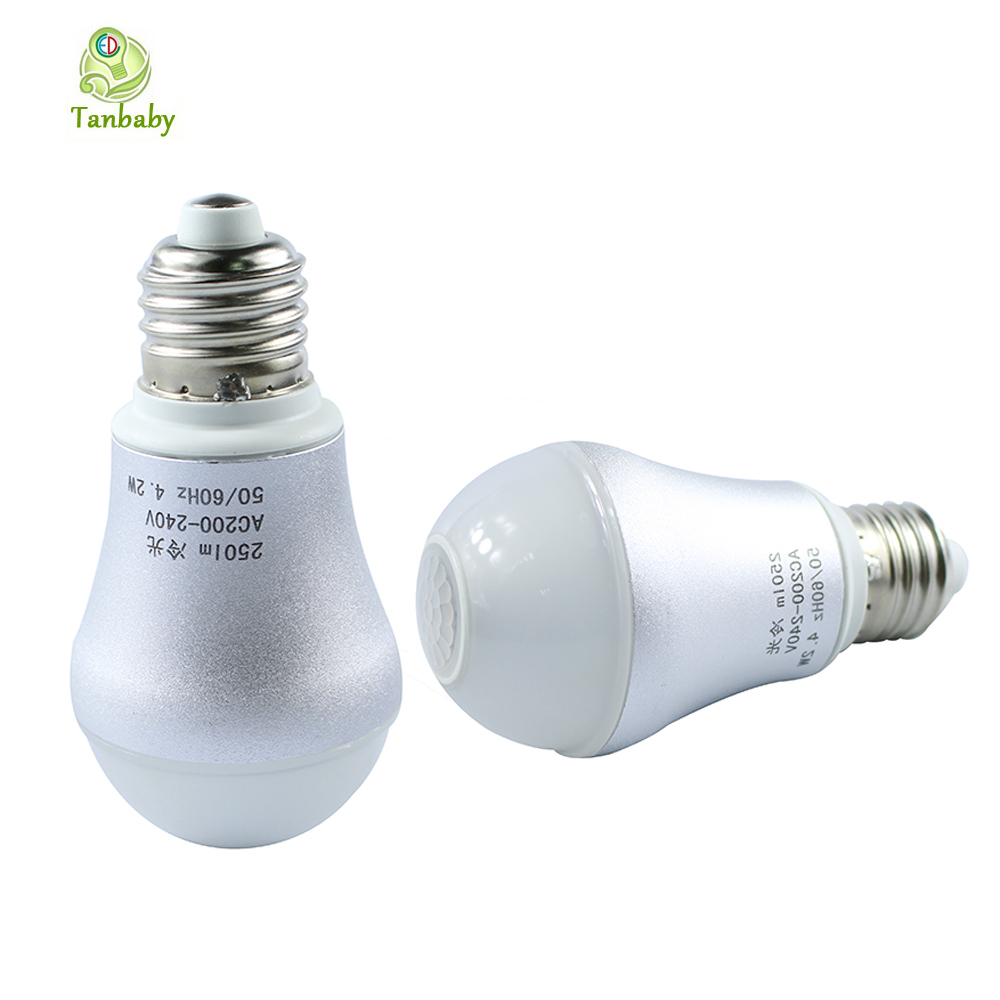 Tanbaby 4.2W Led Bulb infrared human body sensor light PIR Bulb Lamp Motion Sensor sensing bulb Night lighting for Aisle litake led bulb lamp energy saving motion activated light bulb e27 9w pir infrared motion sensor light pir stairs night light