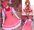 2016 Custom Made Halloween Costume Women Japan Girls Pink color Maid Lolita Sakura Card Captor Cosplay Costumes Dress + Cap