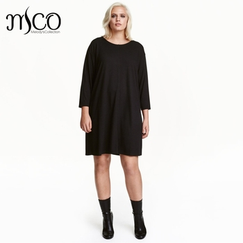 Casual Plus Size Relax Fit Tunic Dress Basic Black Loose Shift Dress For  Women Spring Long f8715e747ca8