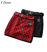 Y Demo Gothic Women S Skirt Punk Red Black Embroidery Zipper Belt Sashes Female Skirts