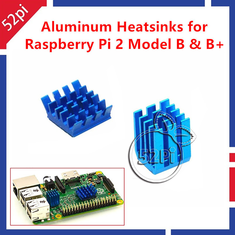 2Pcs Adhesive Aluminum Heat Sinks Cooling Kit for Raspberry Pi 3 Pi 2 Model B/B+ 12pcs aluminum heat sinks 2pcs pure copper heat sinks for raspberry pi 512m model b computer free shipping