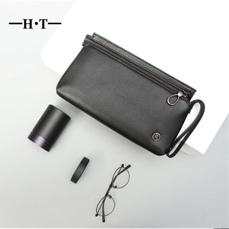 цена на HT Vintage Designer Purse Cowhide Men Clutch Bags Genuine Leather Long Zipper Wrist Wallet Phone Card Pocket Male Black Pouch
