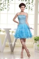Бесплатная доставка короткое платье выпускного вечера 2014 обнаженная кристалл платье ренессанс платья свадебные платья formales радуга цветны