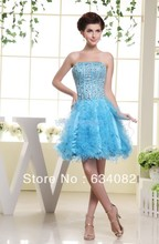 free shipping prom short dress 2013 nude crystal renaissance gowns vestidos formales rainbow colored blue