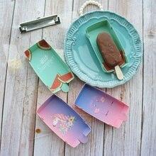New 10pcs Ice cream popsicle packaging box Unicorn Flamingo Watermelon design as birthday summer party wedding use