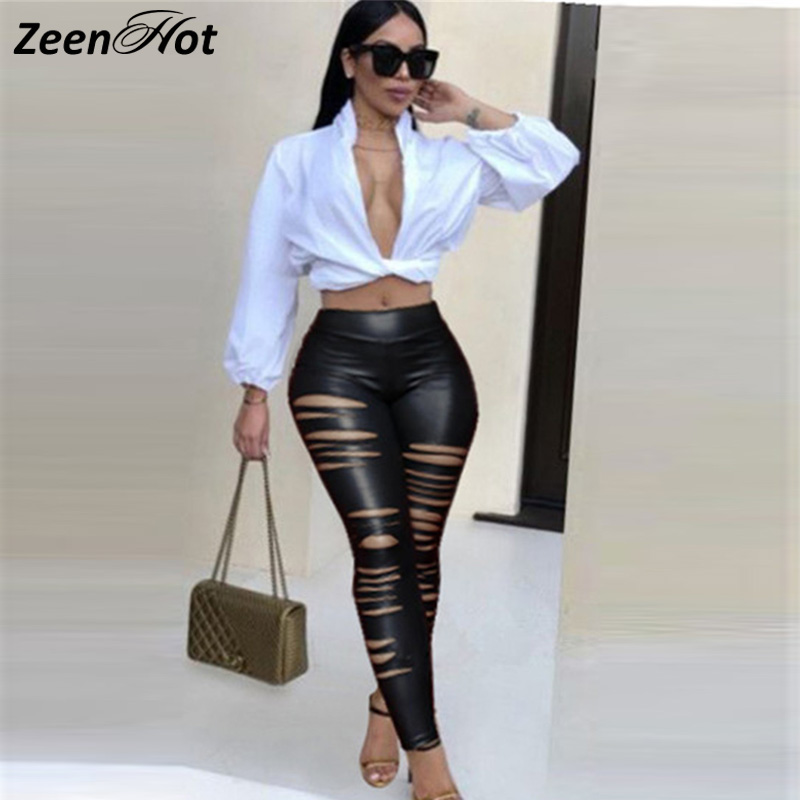 Women's Imitation Leather Pants Lady Sexy Hollow Out High Waist Pants Women Slim Trousers Skinny Pencil Pants