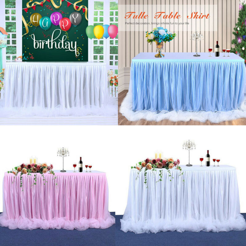 Wedding Tulle Tutu Table Skirt Cover Party Birthday Festive Baby Shower Decor Table Cloth Decoration Christmas Decor 183*78cm