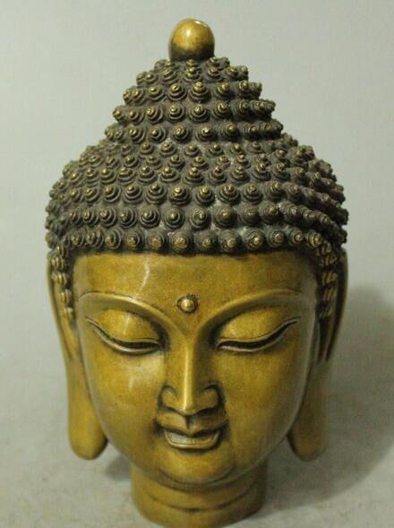 Chinese Tibetan Buddhism Bronze Gilt Shakyamuni Sakyamuni Buddha Head StatueChinese Tibetan Buddhism Bronze Gilt Shakyamuni Sakyamuni Buddha Head Statue