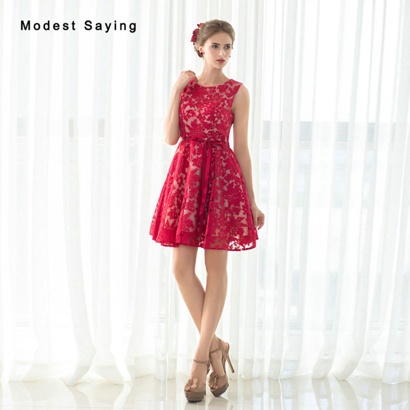 2017 New Lace   Cocktail     Dresses   Girls Formal Elegant Short Homecoming Prom Gowns Red Party   Cocktail     Dresses   vestidos de coctel