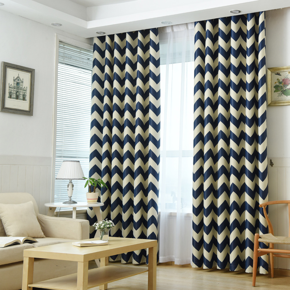 Yellow patterned curtains - European Geometric Style Bedroom Curtain Kids Blinds Window Shade Cloth Modern Geometric Printing Pattern Screening Fabric