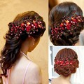 New Design Chinese Crystal Red Flower Wedding Bridal Hair Jewelry Party Handmade Hair Pin Hair Accessories for Women Headdress