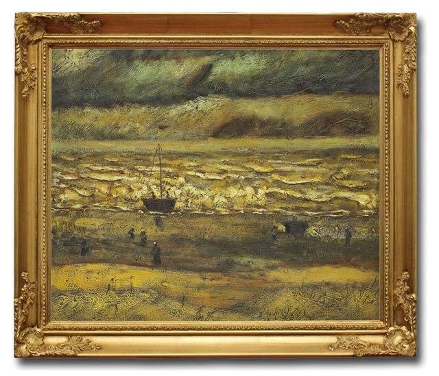 6003 Wooden Oil Painting Frames Beach at Scheveningen in Stormy ...