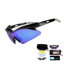 Outdoor sports riding glasses unisex windproof riding sunglasses light rain bicycle glasses UV400 bicycle riding glasses 5 lens недорого