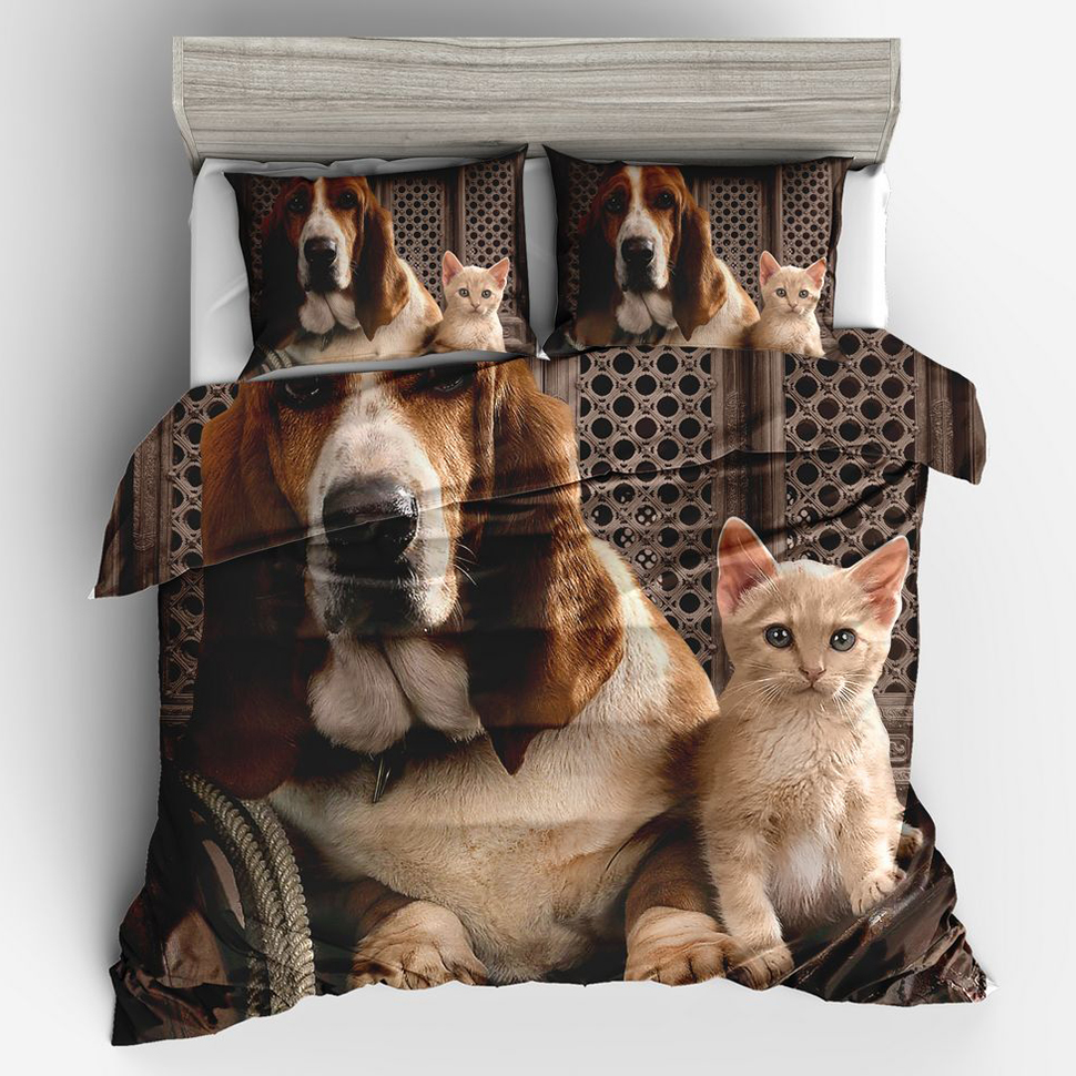 ᐃTwin Size Bedding Set Animal Cat Dog 3d His and Hers Comforter
