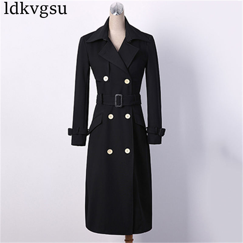 NEW Fashion 2019 Plus Size Women Spring Autumn   Trench   Coats Slim Maxi Long Coat Winter Female Outerwear Black abrigos mujer A795