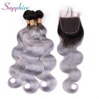 Sapphire Ombre Grey 3 Bundles with Closure Brazilian Hair Body Wave 100% Remy Human Hair Weave Bundles Color TB/Grey