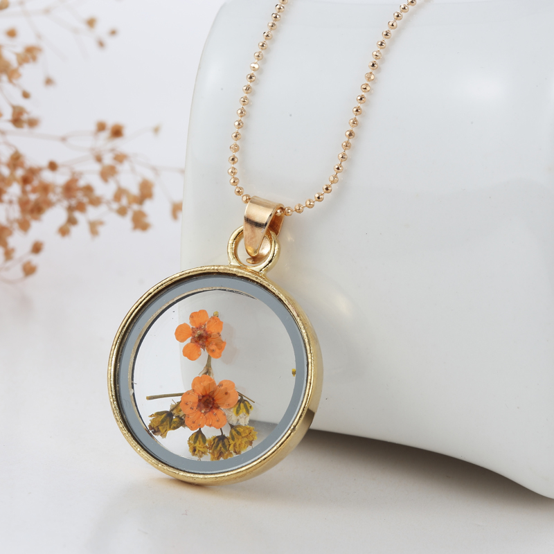 (10pcs/lot) Transparent Glass Round Pendant Natural Dried Flower Plant Floating Locket Necklace Handmade Jewelry For Women Men locket